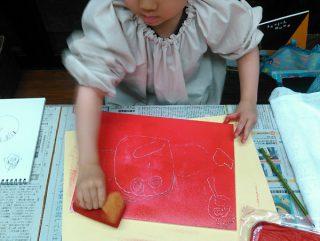 園小混合クラス1月1回目・スチレン版画