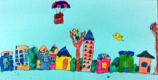 小学生クラス7月2回目・水彩画「街」