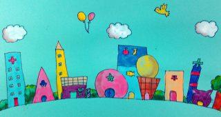 小学生クラス1月2回目・想像して描く「街」