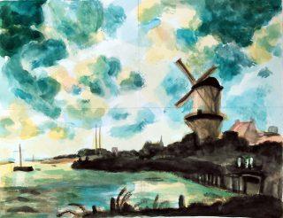 絵画クラス7月の制作・風景画