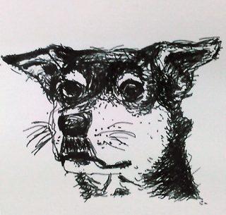 小学生クラス12月1回目・ペン画「犬」