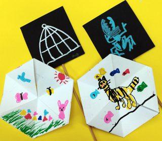 園小混合クラス1月2回目・紙で作るおもちゃ