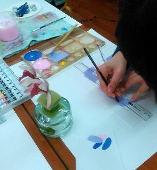 絵画クラス1月の制作・色彩構成