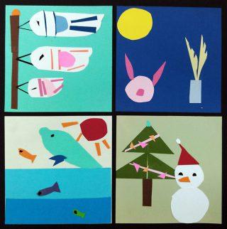 小学生クラス1月2回目・貼り絵「四季」