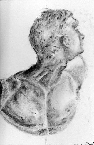 絵画クラス3月の制作・木炭デッサン「石膏像」