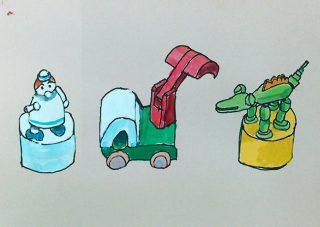 小学生クラス6月2回目・見て描く「おもちゃ」