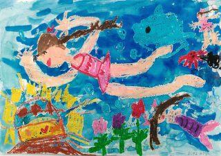 園小混合クラス7月1回目・水遊びの絵