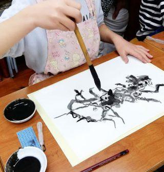 小学生クラス2月2回目・水墨画