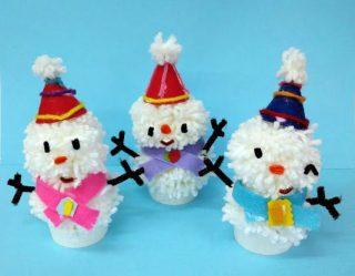 園小混合クラス2月2回目・毛糸の雪だるま