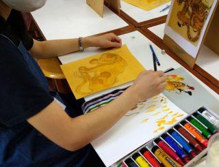 絵画クラス5月の制作・アクリル画1